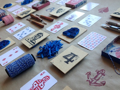 Ahoy - Playing Cards lettering illustration deck sailor ship sea captain stamps craft game typography nemetz
