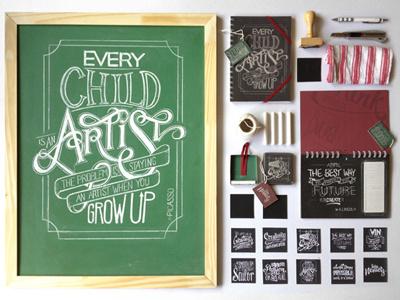 Chalkboard Lettering Stationery Set typography nemetz lettering chalkboard sketchbook calendar stationery notebook
