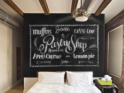 Pastry-Shop Wallpaper wallmural australia type lettering chalkboard nemetz france pastry sweets bakery