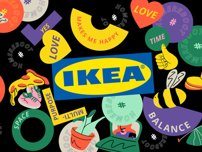 IKEA Life at Home report 2020 reboot illustatration visual identity branding sticker branding stickers report life at home home ikea