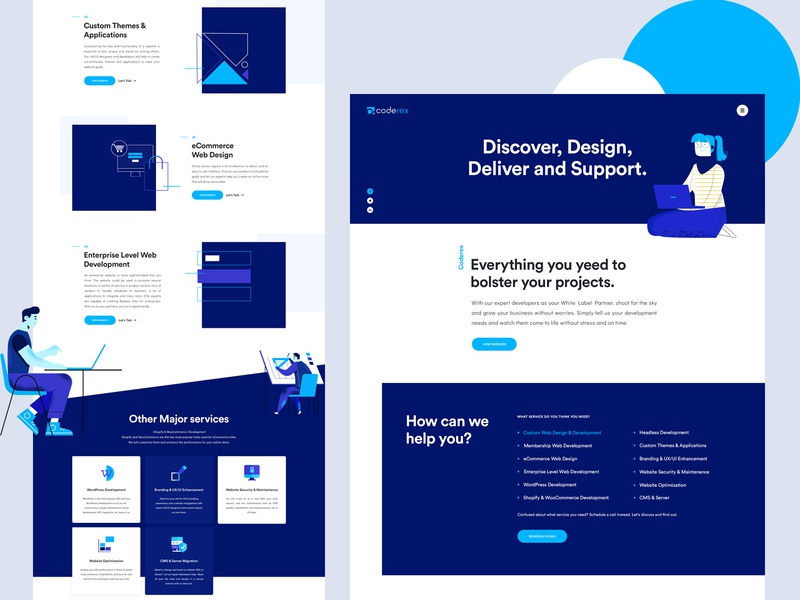 CodeRex - Services concept agency illustraion colorful website design ux ui typogaphy page contact services