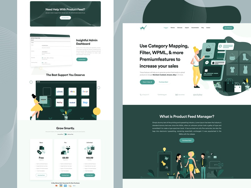 Product Feed Landing Page illustraion woocommerce web ux ui sales marketplace product landingpage clean