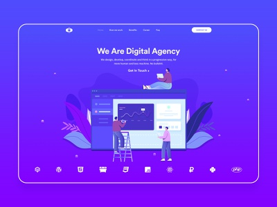 Creative Agency - Landing Page illustration caracter ux ui hero section header clean agency website webdesign web typography landingpage identity homepage blue