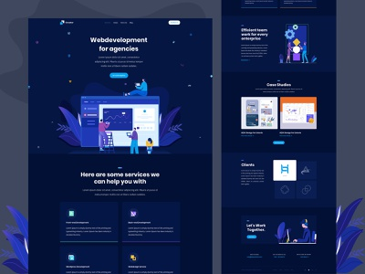 Digital agency landing page creative design concept typography website webdesign ux ui startup minimal landing page illustraion digital creative corporate colorful character business branding agency