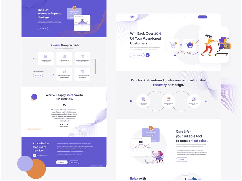 Cart Lift Landing Page interface creative clean website concept website ui design landing page landing page design landingpage relax recover lost sales email automated abandoned cart