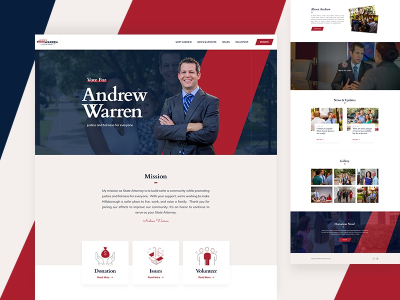 Landing page - (For politicians) website web ux ui typography politician minimal experience design clean