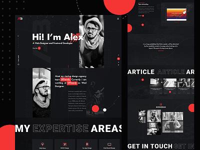 Personal Resume & Portfolio Website Design typogaphy webdesign landing page design cv design black website design vcard design ux ui personal resume personal portfolio modern clean