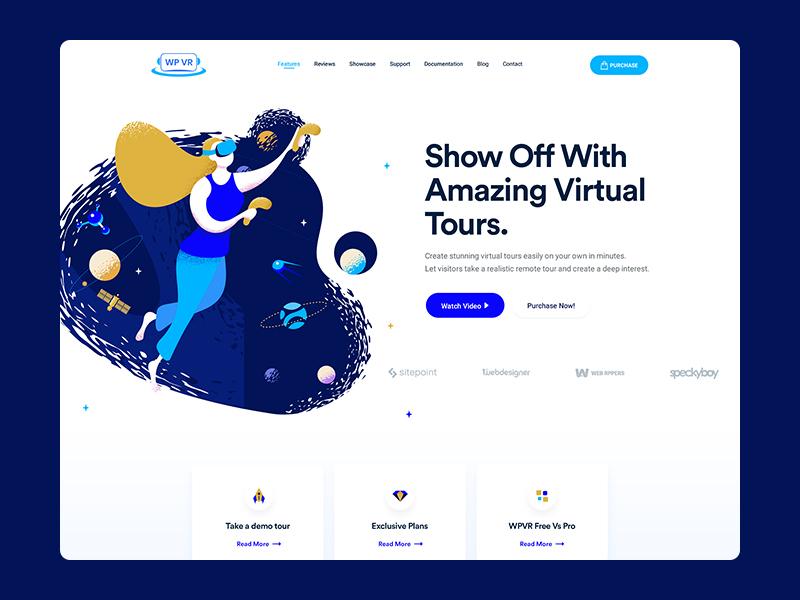 WPVR Landing Page exploration 360 video illustraion web design vr virtual reality ux design ui design onepage header glass clean