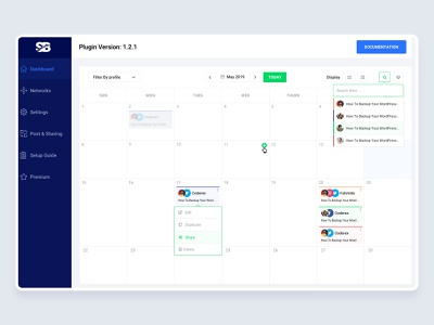 Social Booster - Social Automation Dashboard ux ui social sharing schedule save time re-schedule post early exparience design deshboard calender blog sharing automation