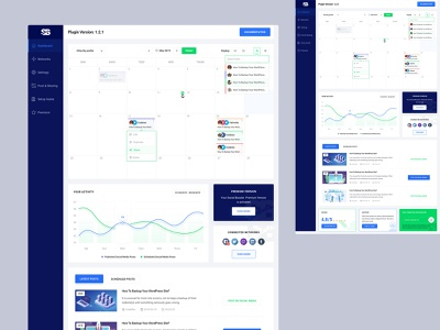 Social Booster - Social Automation Dashboard ux ui social sharing schedule save time re-schdule post early experience design deshboard calender blog share automation