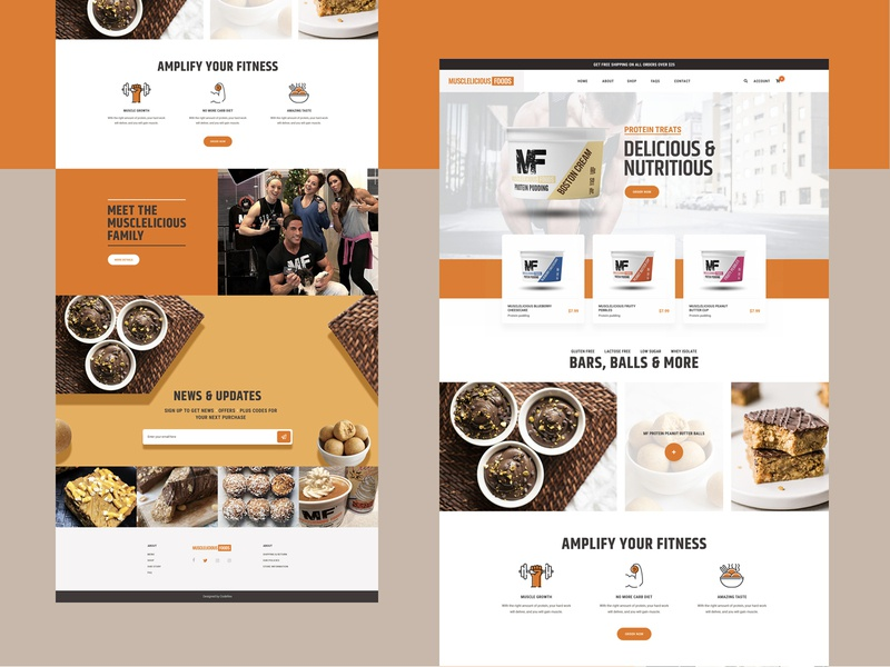 Landing page - Musclelecious Food sopify musclelecious food musclelecious food healthyfood colorful clean ux ui landing page interface food delivery product bodybuilder