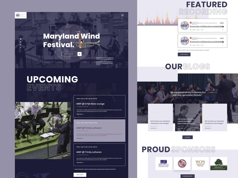 Landing Page - Maryland Wind Festival donate website web ux ui clean landingpage music event musician