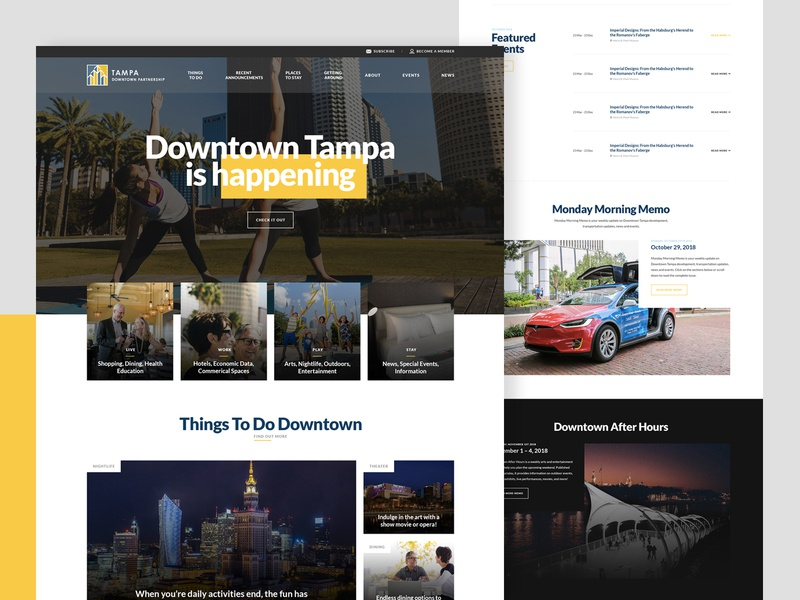 Tampa downtown partnership site brand design partnership event clean typography directory