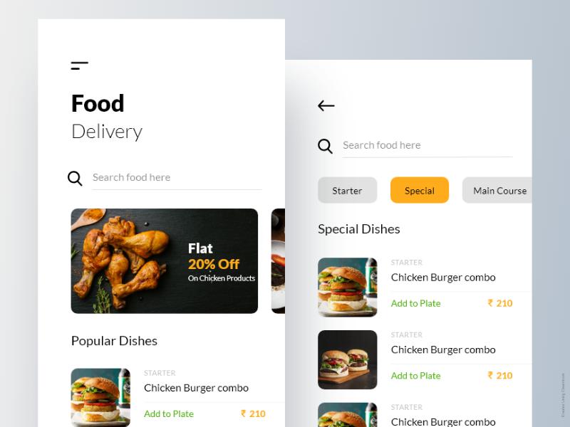 Food Ordering Mobile App online food food ordering app ios app design android app design ui dashboard ui pack mobile app design restaurant app