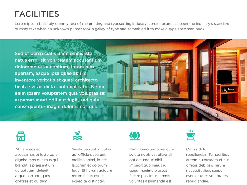 Inner pages (web template) inspirational inspiration mockup layout responsive page features hotel facilities amenities innerpages website simple new modern landing ux clean ui design