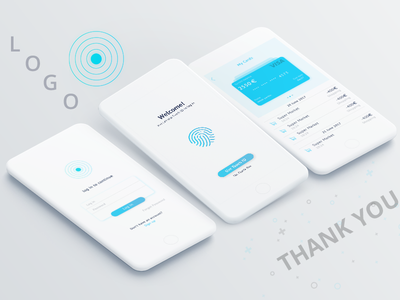 Mobile Bank apps finger print card apps design