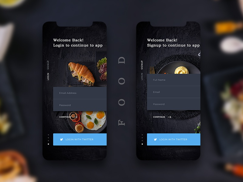 Restaurants Login, Signup Screen by Mr  Chaudhari on Dribbble
