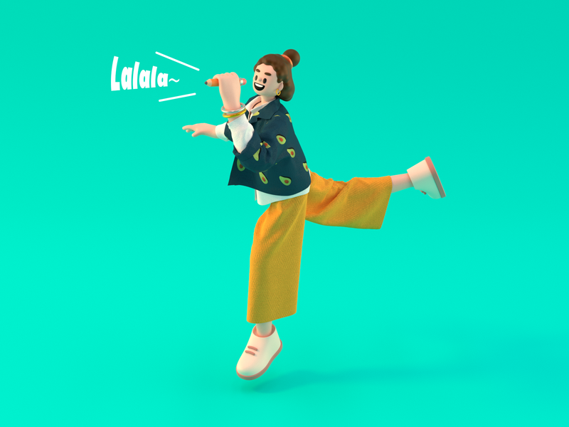 Sing whenever you want! Sing wherever you want! jacket singing singer girl character design illustration cinema 4d 3d modeling c4d 3d character