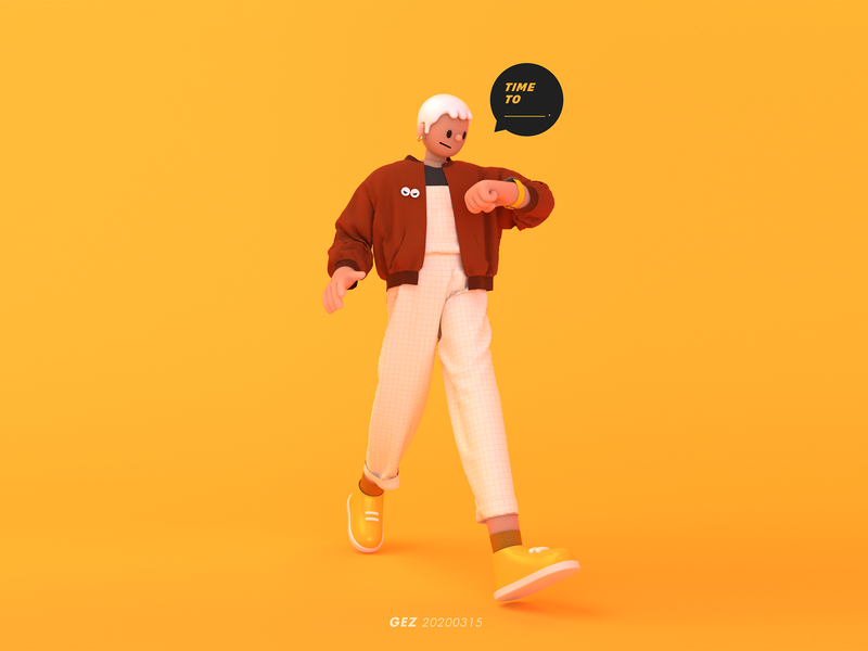 Time To _______________ . watch time jacket walking walk character design 3d modeling c4d cinema 4d character illustration