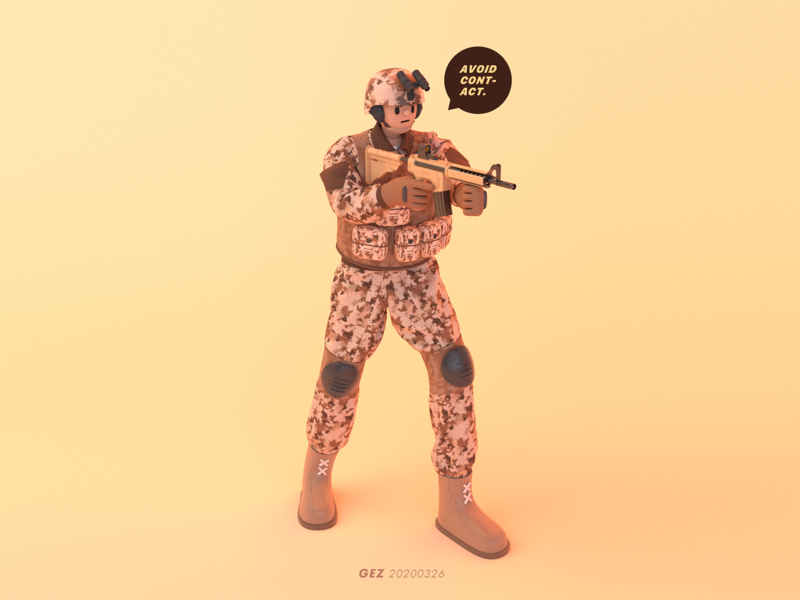 Avoid Contact ! fight gun game military justice war army soldier character design cinema 4d 3d modeling c4d character illustration