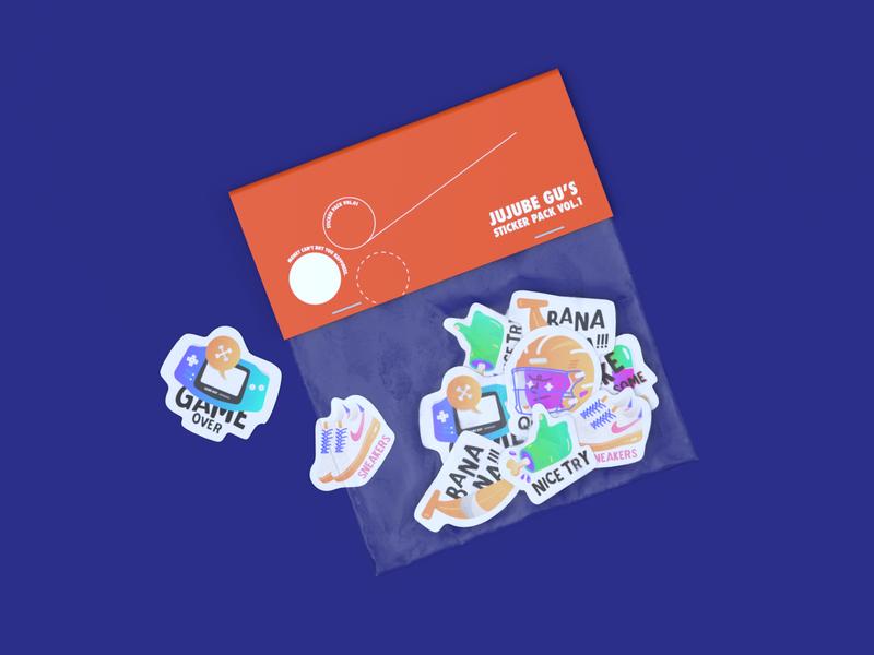 Jujube Gu's Sticker Pack Vol.1 arnold render branding package sticker design character design c4d illustration