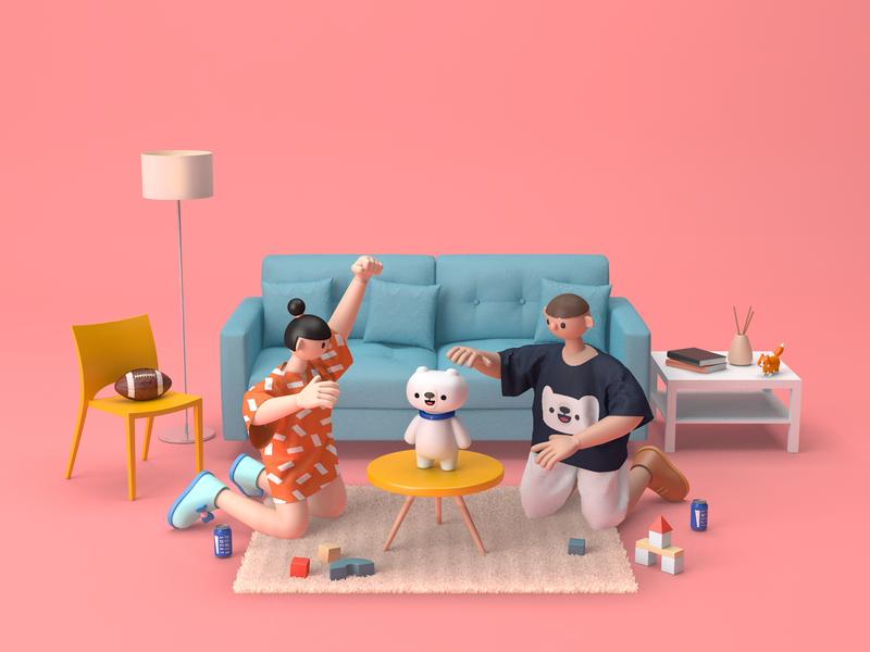 Boy & Girl play toy home girl boy render cinema 4d 3d modeling character design c4d 3d character