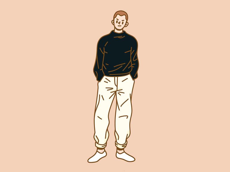 A Man In Black practice gesture digital art ipadpro brushes procreate man character illustration