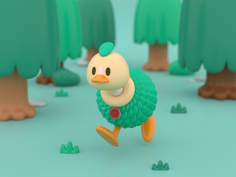Create Your Own Pokemon: Osbush ! animal game ostrich forest pokemon render character design c4d cinema 4d 3d modeling 3d character illustration