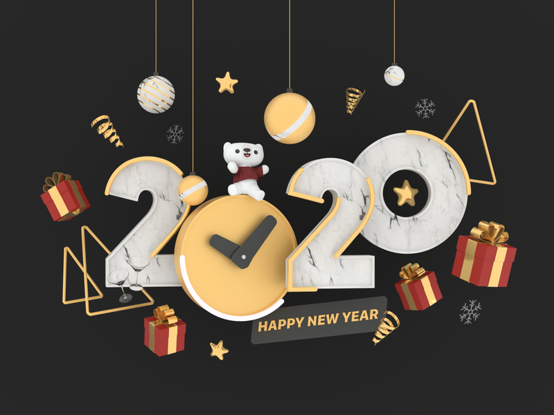2020 Happy New Year holiday celebration celebrate happy new year 2020 cinema 4d 3d modeling c4d 3d