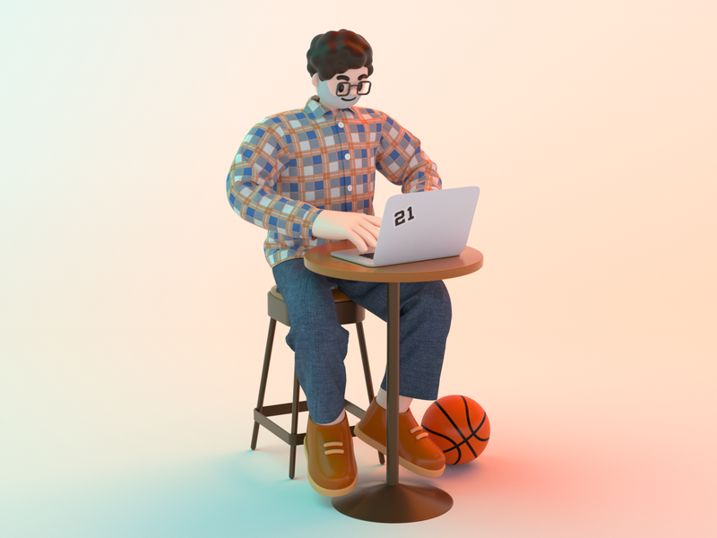 Working in the coffee shop jeans computer basketball coffee shop working plaid shirt character design cinema 4d 3d modeling c4d 3d character illustration