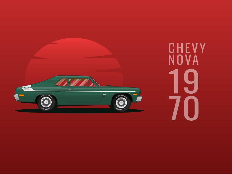 Chevrolet Nova 1970 illustrator painting nova red web illustration vehicle chevy car design