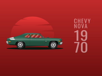 Chevrolet Nova 1970 illustrator painting nova red web illustration vehicle chevy car design