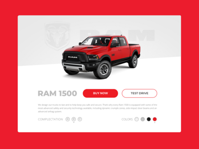 Ram truck Card color truck card buy ram web website typography ux design