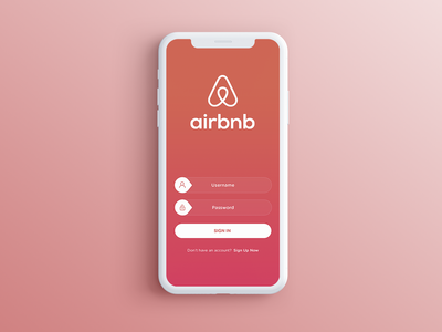 Sign in Airbnb vector login airbnb logo adobe red photoshop card app illustration icon user typography designer ux ui interface web colors