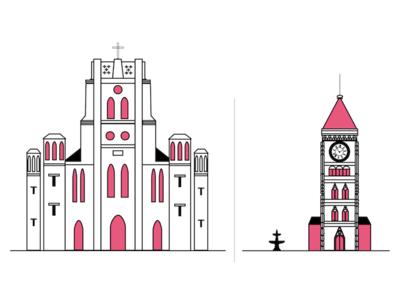 Travel magazine project tianjin building church illustration