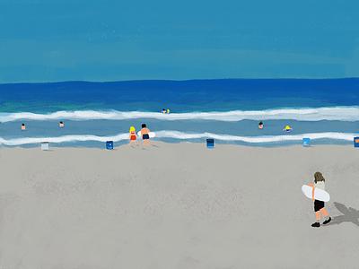 Summer California beach landscape branding illustration