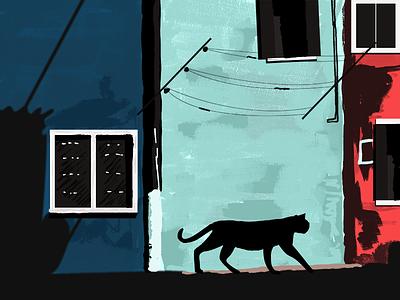 Lonely Cat building cat magazine landscape nature illustration