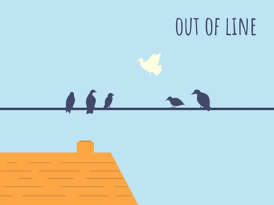 Out Of Line bird poster branding illustration