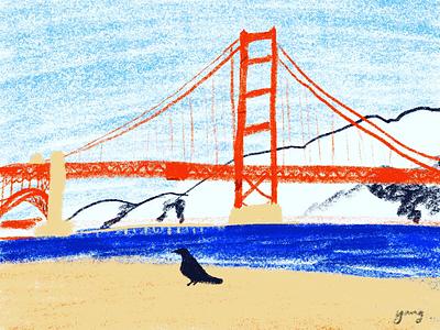 Golden Gate Bridge illustration poster