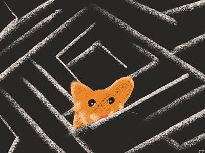 Lost mouse design poster illustration