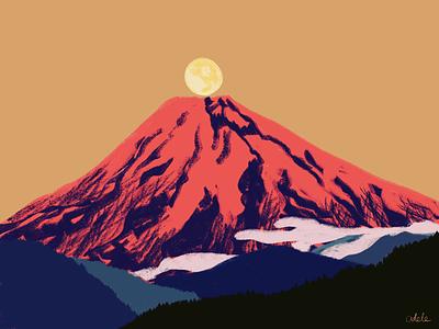 Fuji moon illustration