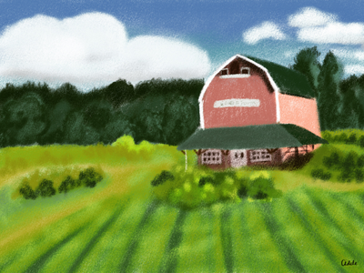 A Farm in summer chalk illustration farm poster