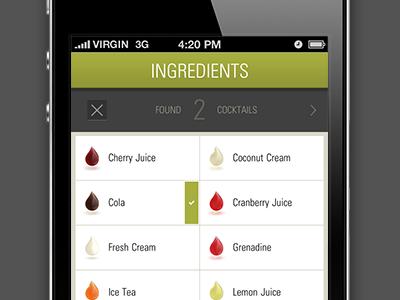 Cocktail App UI ui iphone retina custom cocktails ios