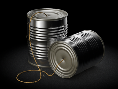 Tin Can Telephone Icon icon communication metal tin can rope