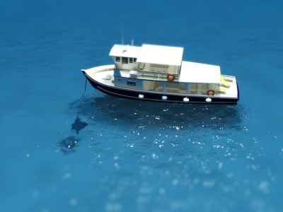 Boat on Ocean #2 3d rendering ocean ship