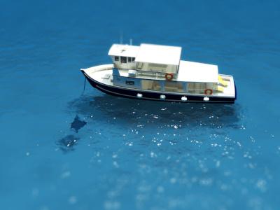 Boat on Ocean #2 3d rendering ocean ship