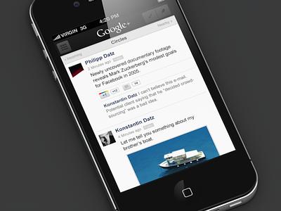 Google+ iOS Makeover google plus interface-design ui minimal ios g gplus