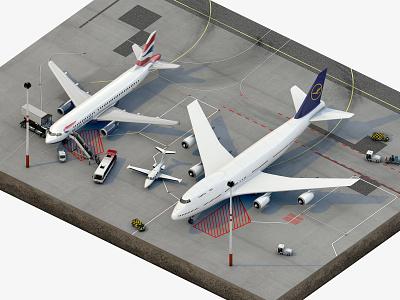 Little Airport Scene Teaser airport 3d rendering teaser