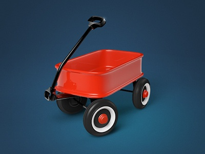 Red Wagon Icon childhood red wagon paint toy