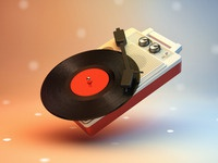 Portable Turntable Icon, now in 3D disco